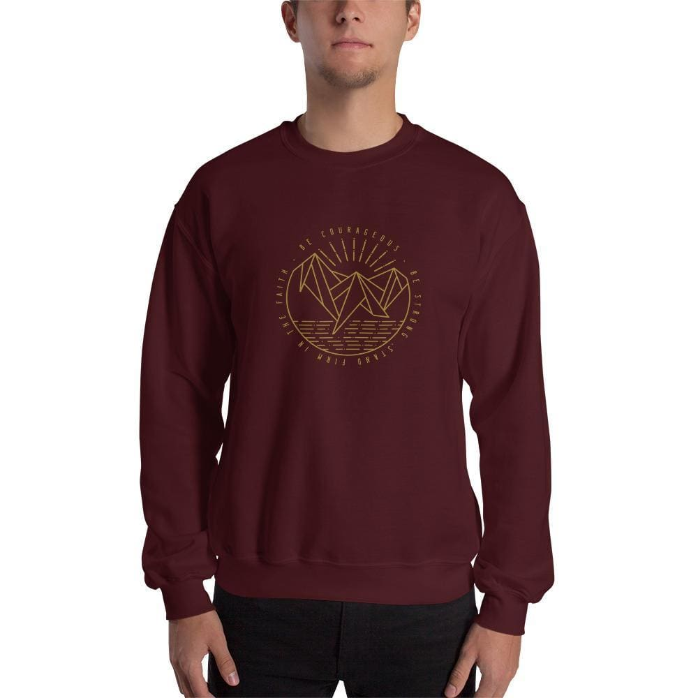 Be Courageous Be Strong Stand Firm in the Faith Christian Crewneck Sweatshirt - S / Maroon - Sweatshirts