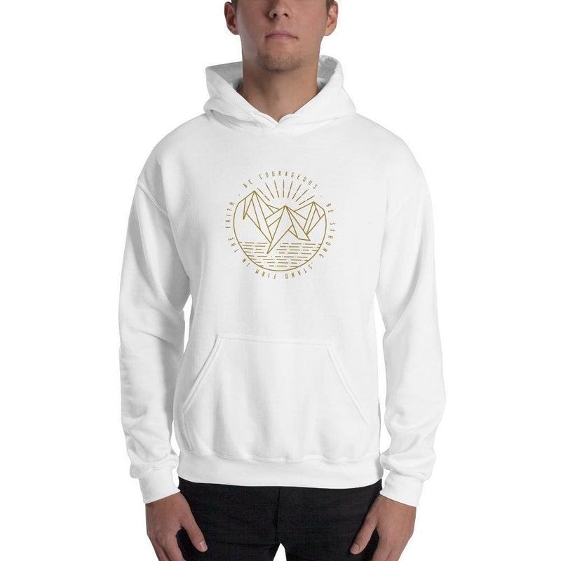 Be Courageous Be Strong Stand Firm in the Faith Pullover Hoodie Sweatshirt - S / White - Sweatshirts
