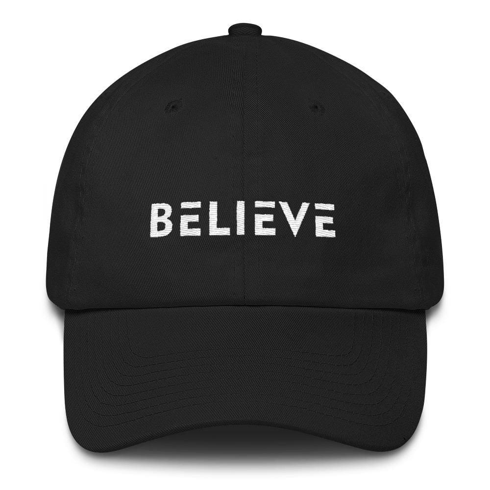 Load image into Gallery viewer, Believe Adjustable Cotton Baseball Cap (Dad Hat) - One-size / Black - Hats