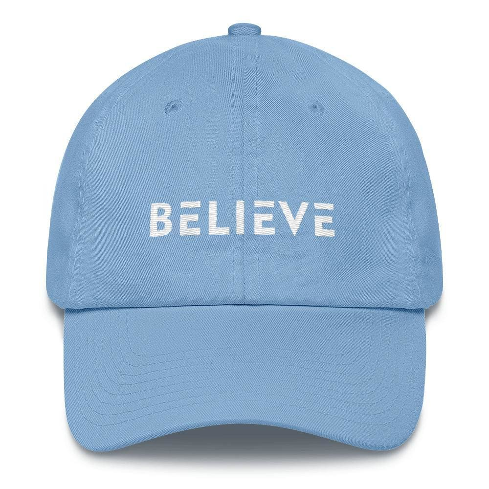 Load image into Gallery viewer, Believe Adjustable Cotton Baseball Cap (Dad Hat) - One-size / Carolina Blue - Hats