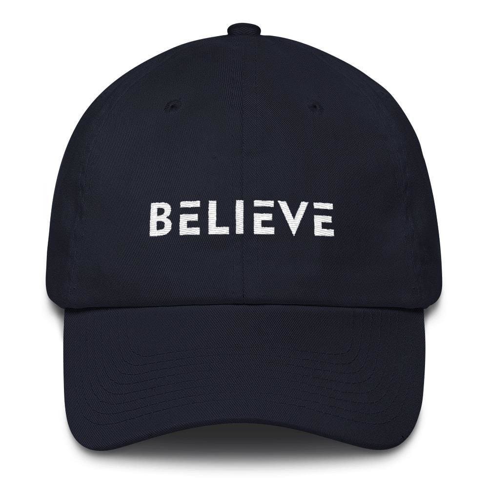 Load image into Gallery viewer, Believe Adjustable Cotton Baseball Cap (Dad Hat) - One-size / Navy - Hats