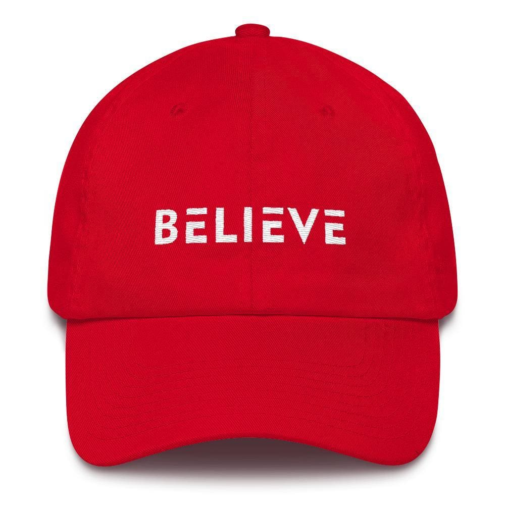 Load image into Gallery viewer, Believe Adjustable Cotton Baseball Cap (Dad Hat) - One-size / Red - Hats
