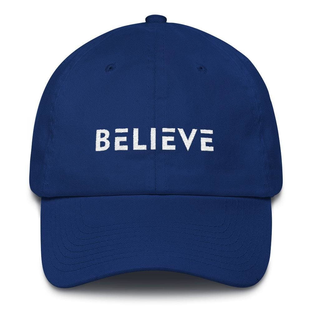 Believe Adjustable Cotton Baseball Cap (Dad Hat) - One-size / Royal Blue - Hats