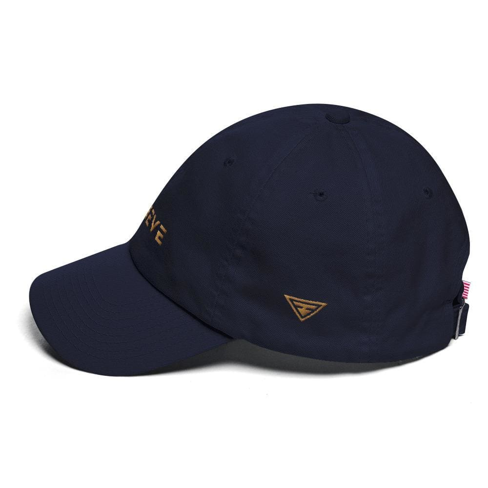 Load image into Gallery viewer, Believe Dad Hat with side logo Embroidered in Gold Thread - Hats