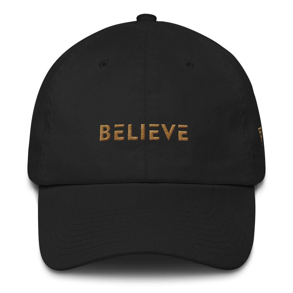 Load image into Gallery viewer, Believe Dad Hat with side logo Embroidered in Gold Thread - One-size / Black - Hats