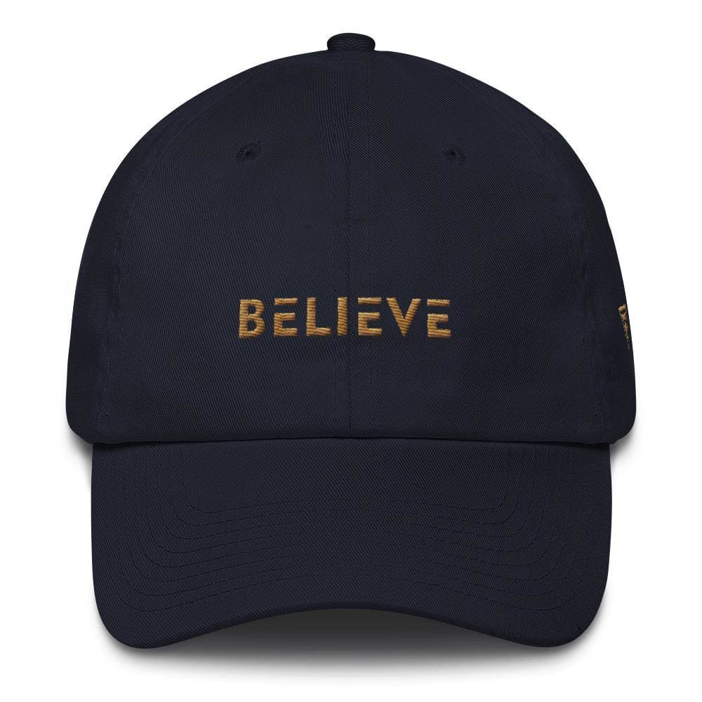 Load image into Gallery viewer, Believe Dad Hat with side logo Embroidered in Gold Thread - One-size / Navy - Hats