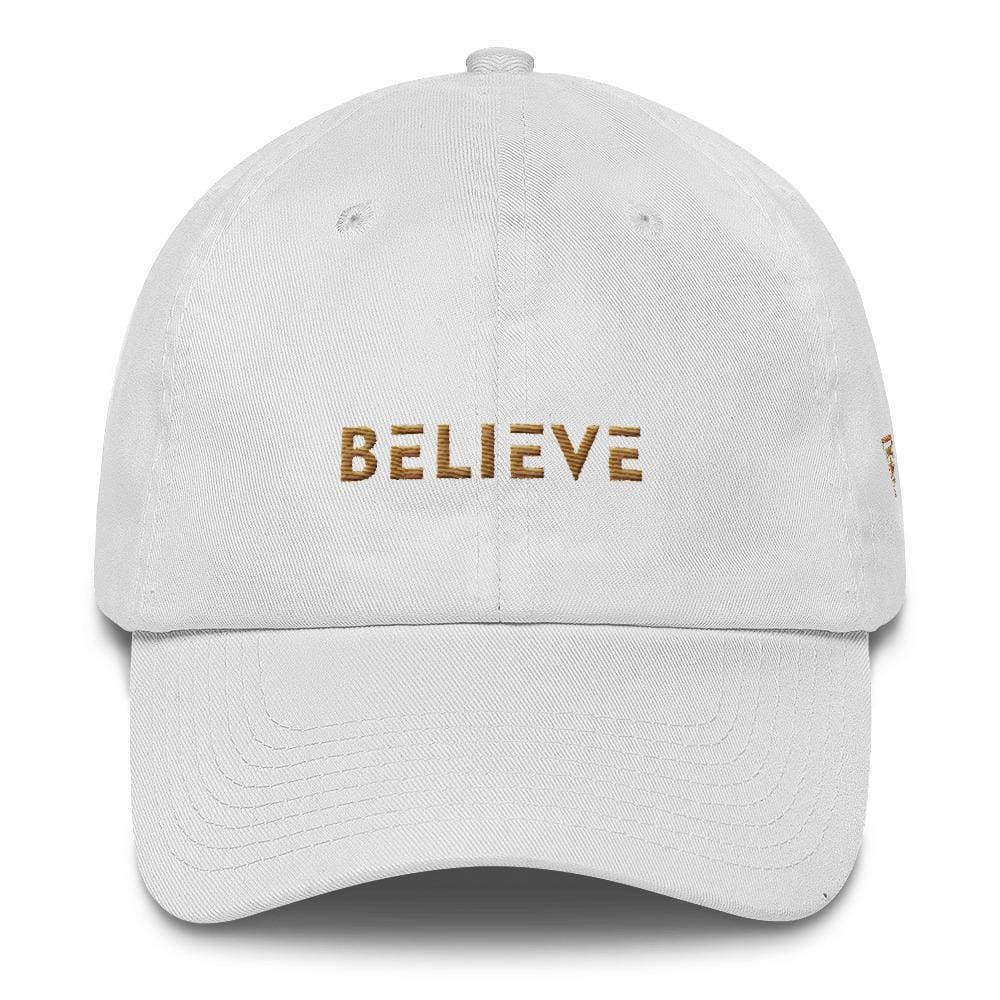 Load image into Gallery viewer, Believe Dad Hat with side logo Embroidered in Gold Thread - One-size / White - Hats