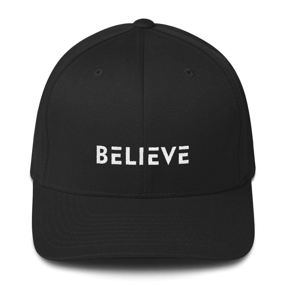 Load image into Gallery viewer, Believe Fitted Flexfit Twill Baseball Hat - S/m / Black - Hats