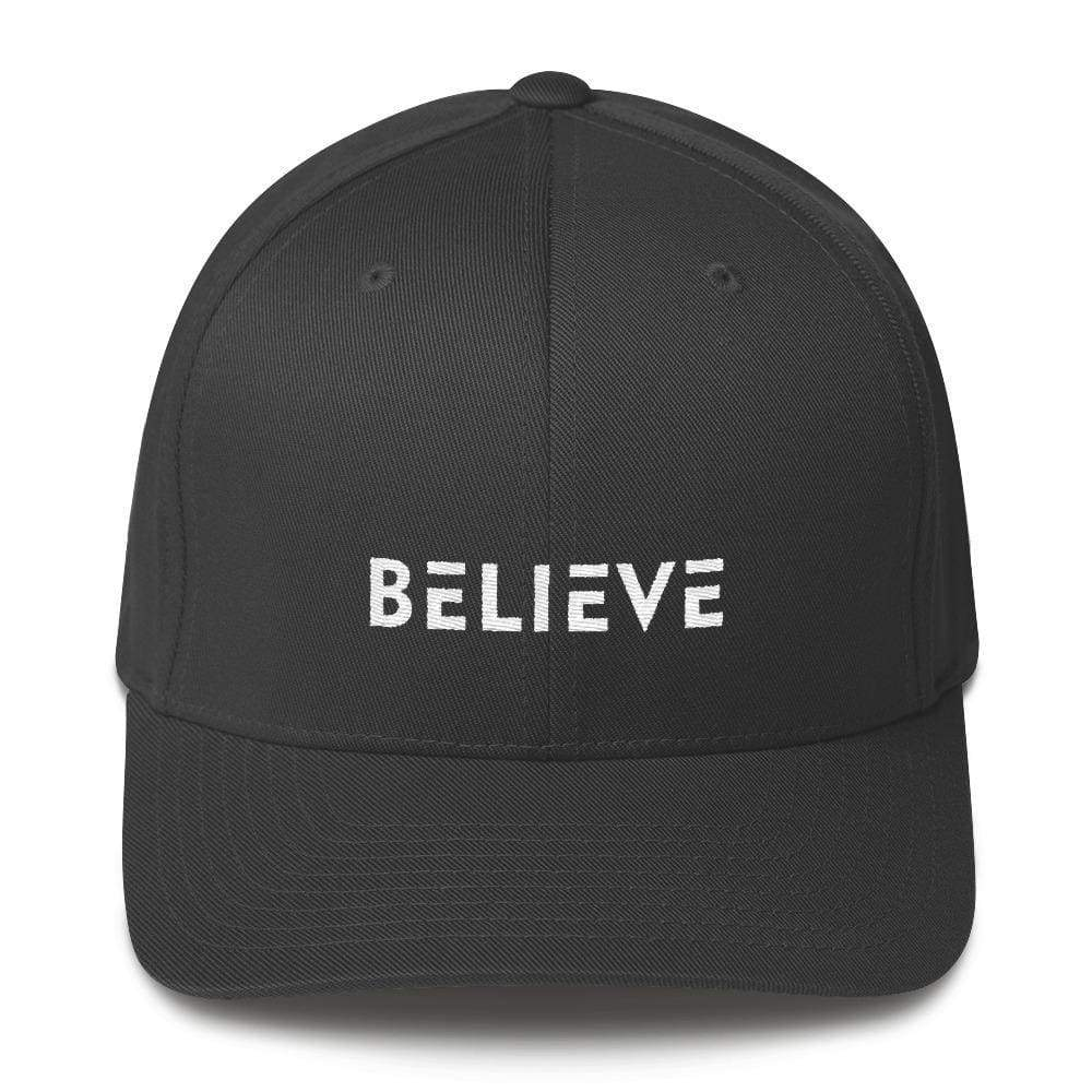 Load image into Gallery viewer, Believe Fitted Flexfit Twill Baseball Hat - S/m / Dark Grey - Hats