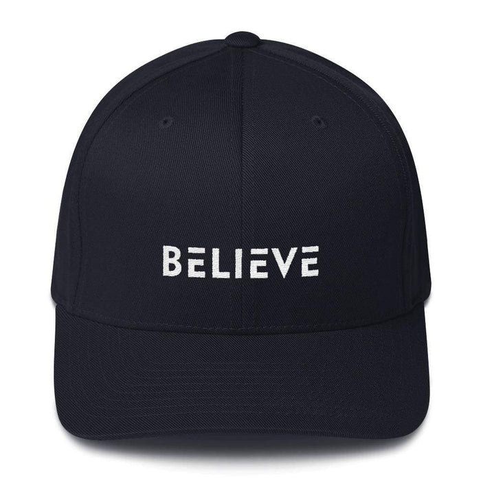 Believe Fitted Flexfit Twill Baseball Hat - S/m / Dark Navy - Hats
