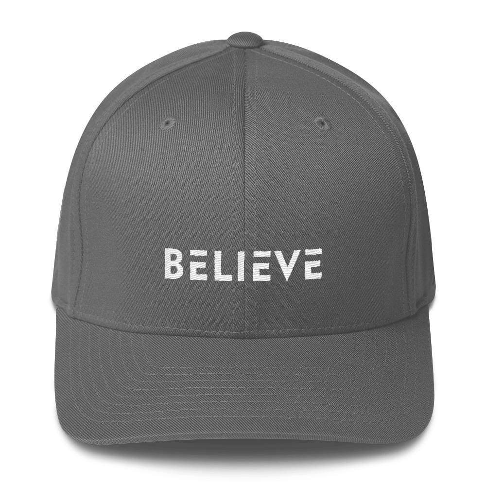 Load image into Gallery viewer, Believe Fitted Flexfit Twill Baseball Hat - S/m / Grey - Hats