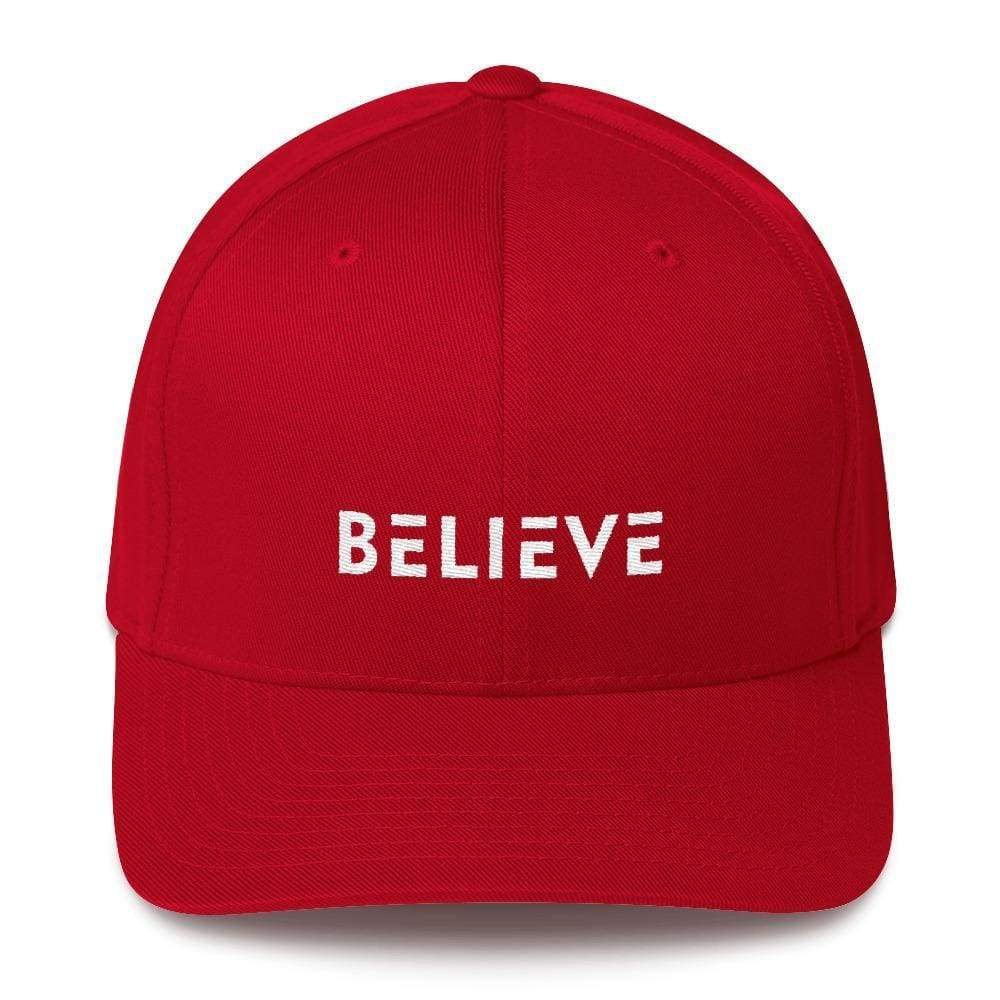 Believe Fitted Flexfit Twill Baseball Hat - S/m / Red - Hats