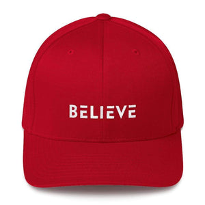 Load image into Gallery viewer, Believe Fitted Flexfit Twill Baseball Hat - S/m / Red - Hats