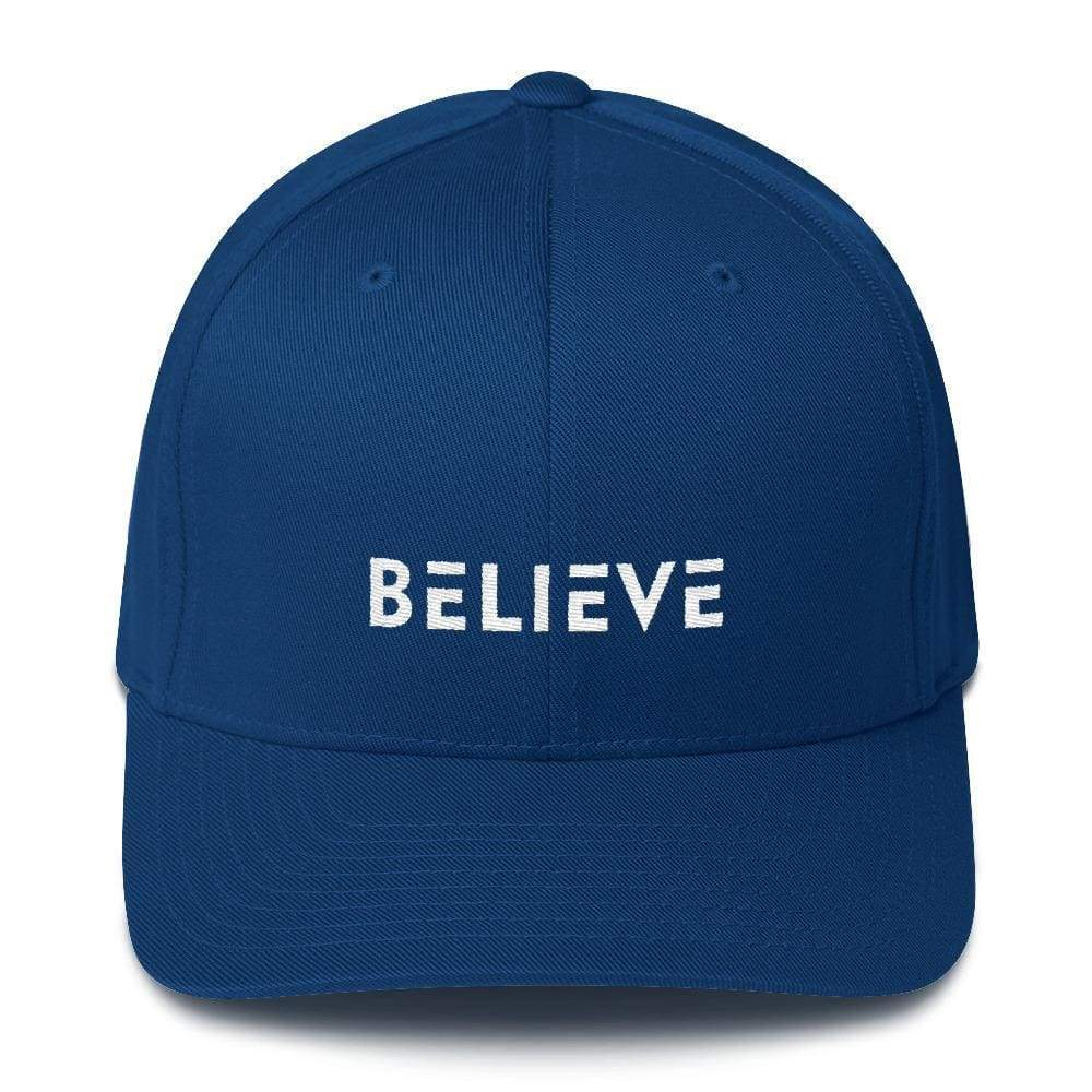 Load image into Gallery viewer, Believe Fitted Flexfit Twill Baseball Hat - S/m / Royal Blue - Hats