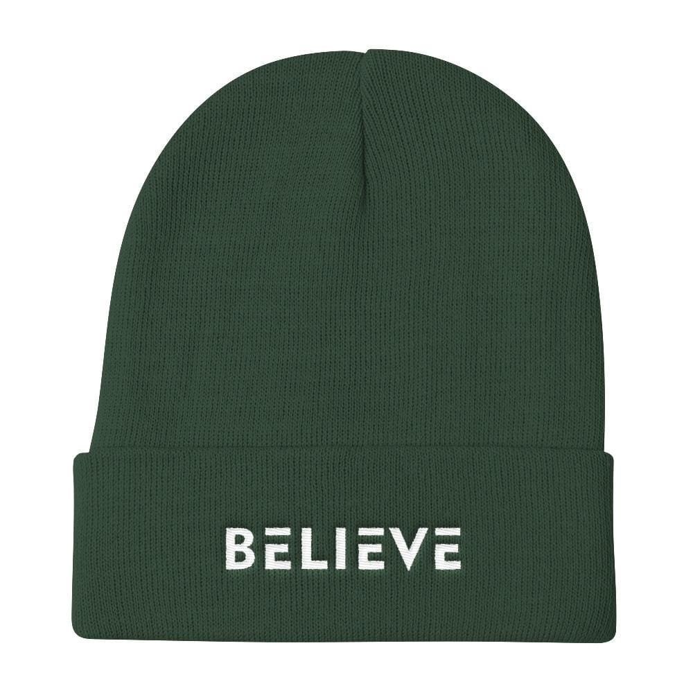 Believe Knit Beanie - One-size / Dark green - Hats