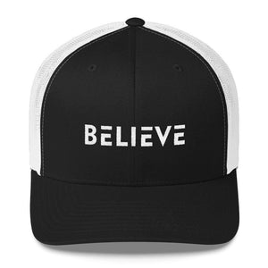 Believe Snapback Trucker Hat Embroidered in White Thread - One-size / Black/ White - Hats