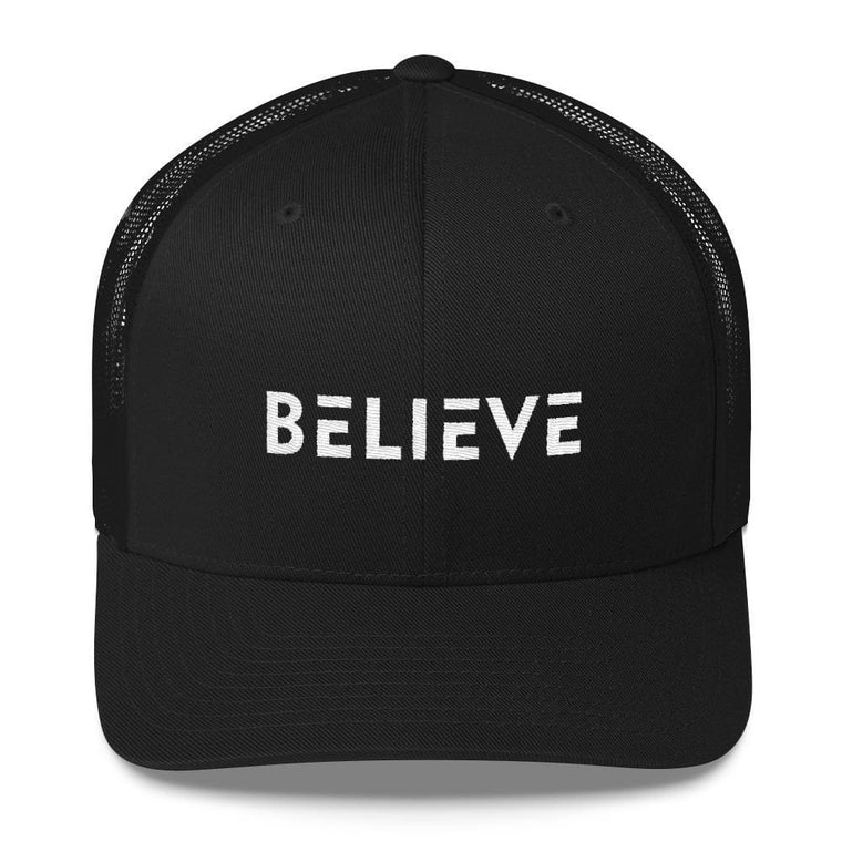 Believe Snapback Trucker Hat Embroidered in White Thread