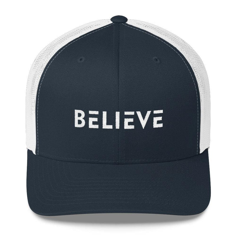 Believe Snapback Trucker Hat Embroidered in White Thread - One-size / Navy/ White - Hats