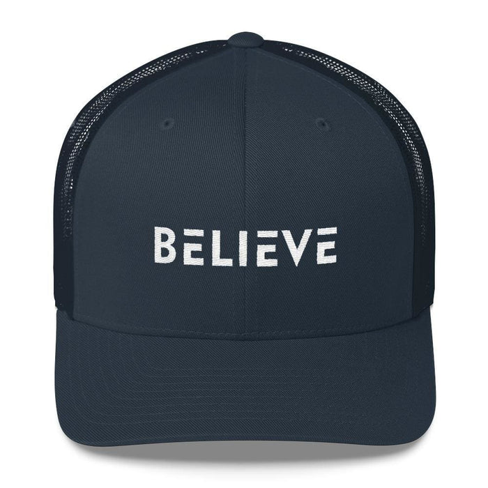 Believe Snapback Trucker Hat Embroidered in White Thread - One-size / Navy - Hats