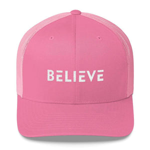 Believe Snapback Trucker Hat Embroidered in White Thread - One-size / Pink - Hats