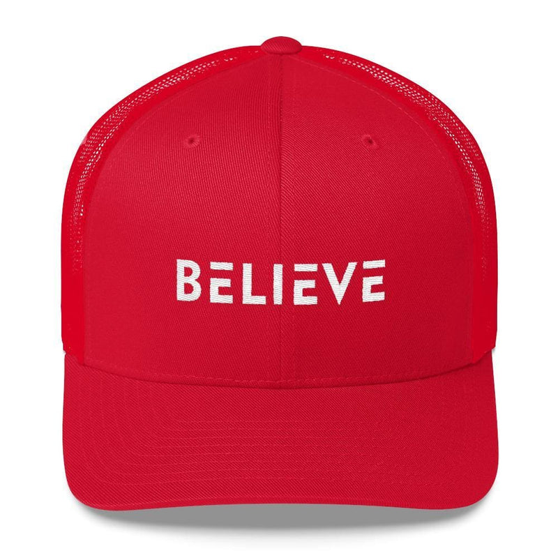 Believe Snapback Trucker Hat Embroidered in White Thread - One-size / Red - Hats