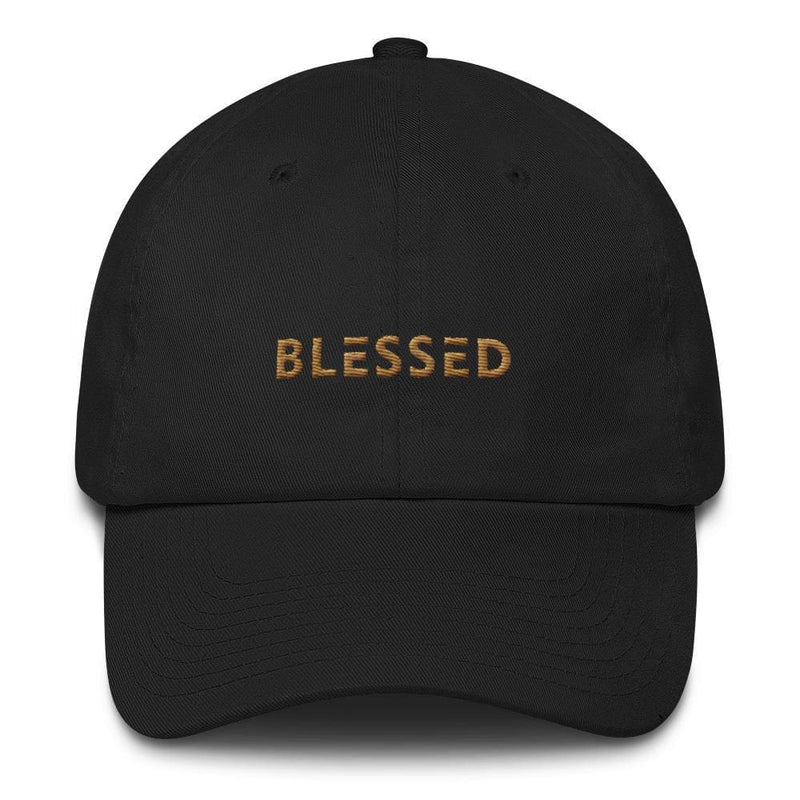 Blessed Dad Hat Embroidered in Gold Thread - One-size / Black - Hats