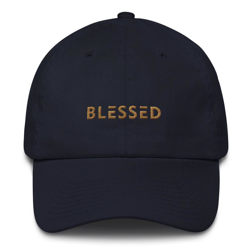 Blessed Dad Hat Embroidered in Gold Thread - One-size / Navy - Hats
