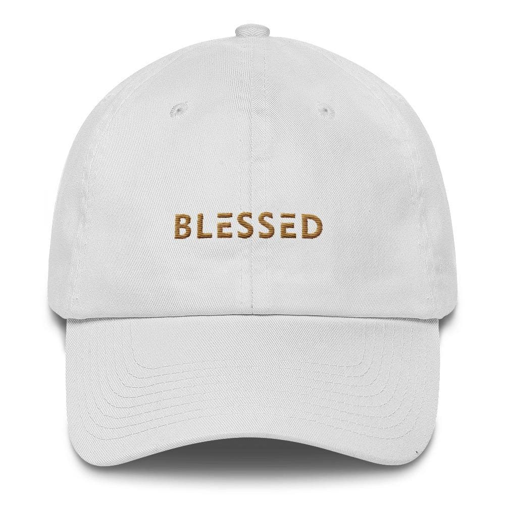 Blessed Dad Hat Embroidered in Gold Thread - One-size / White - Hats
