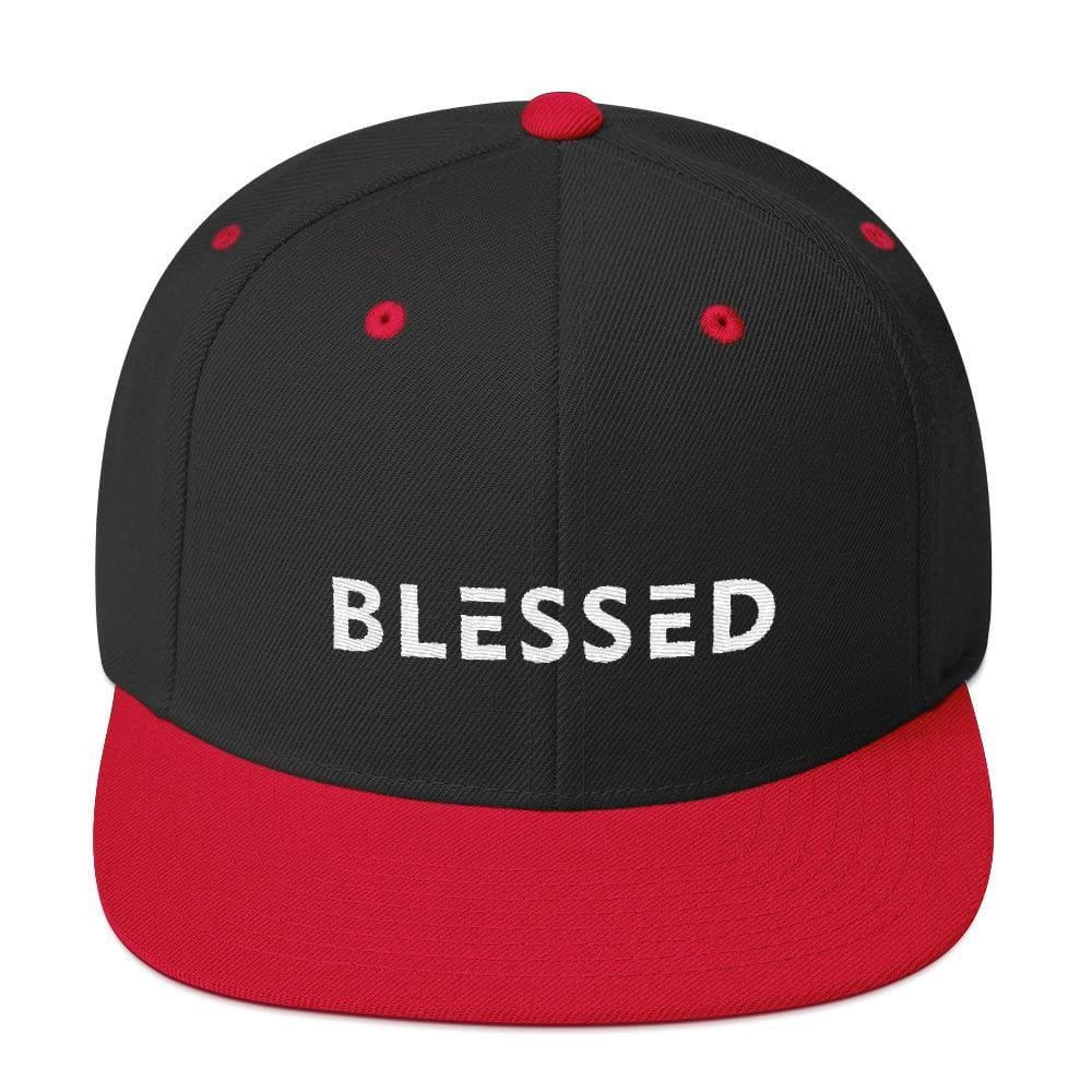 Blessed Flat Brim Snapback Hat - One-size / Black/ Red - Hats
