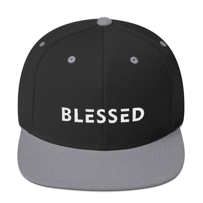 Blessed Flat Brim Snapback Hat - One-size / Black/ Silver - Hats