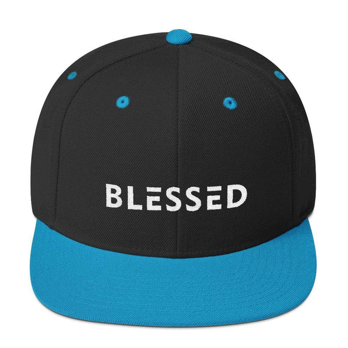 Blessed Flat Brim Snapback Hat - One-size / Black/ Teal - Hats