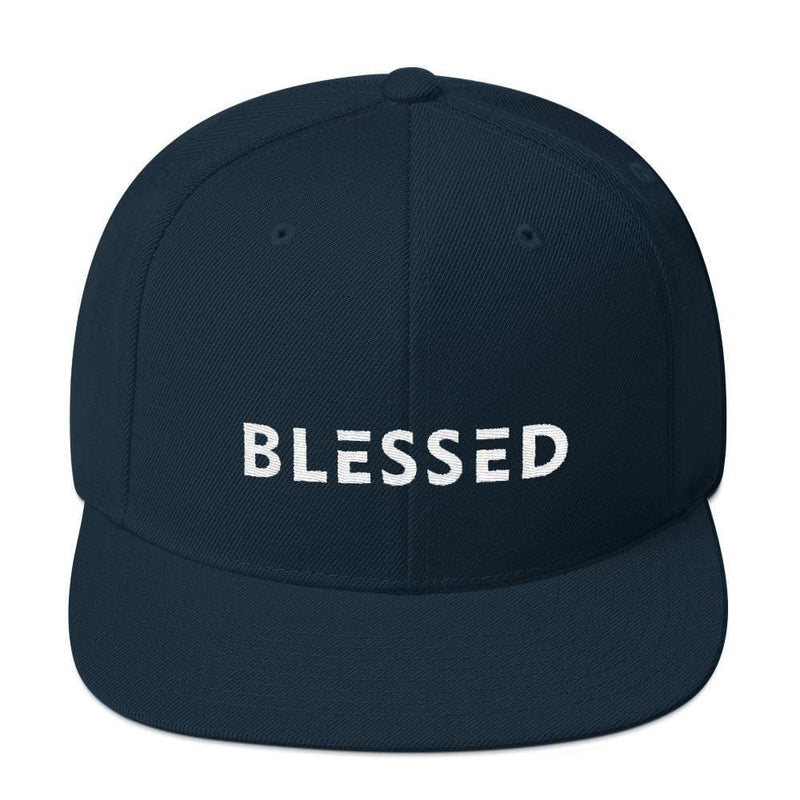 Blessed Flat Brim Snapback Hat - One-size / Dark Navy - Hats
