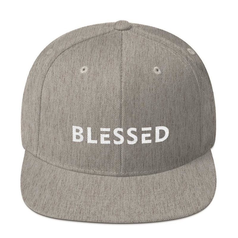 Blessed Flat Brim Snapback Hat - One-size / Heather Grey - Hats