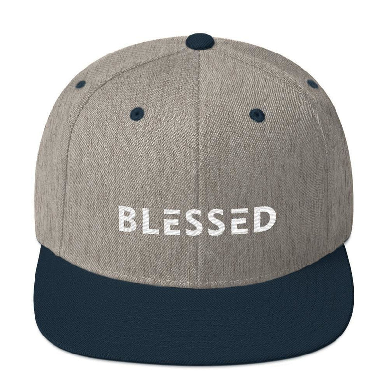 Blessed Flat Brim Snapback Hat - One-size / Heather Grey/ Navy - Hats
