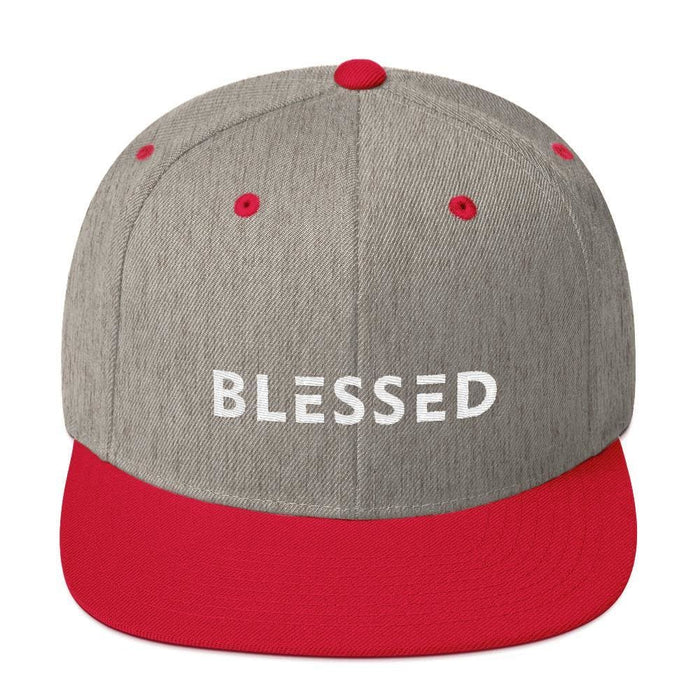 Blessed Flat Brim Snapback Hat - One-size / Heather Grey/ Red - Hats