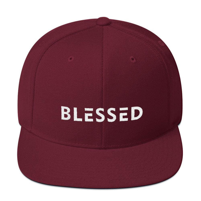 Blessed Flat Brim Snapback Hat - One-size / Maroon - Hats