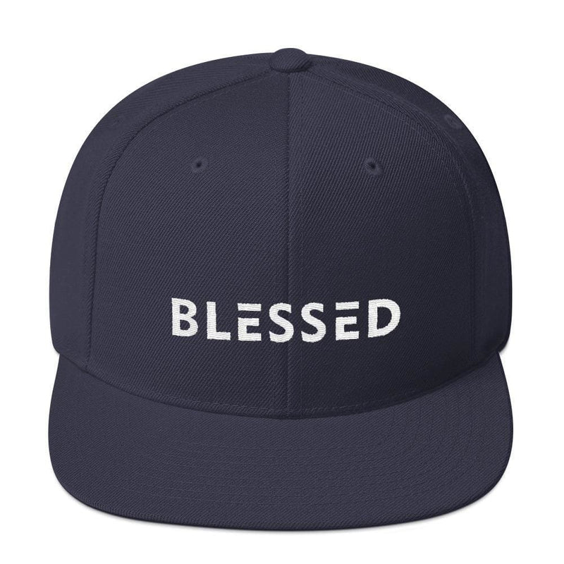Blessed Flat Brim Snapback Hat - One-size / Navy - Hats