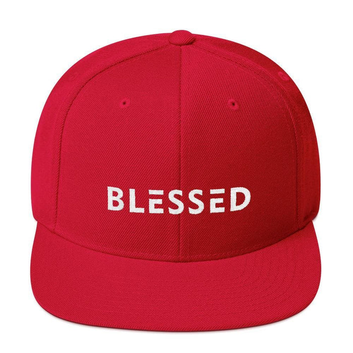 Blessed Flat Brim Snapback Hat - One-size / Red - Hats