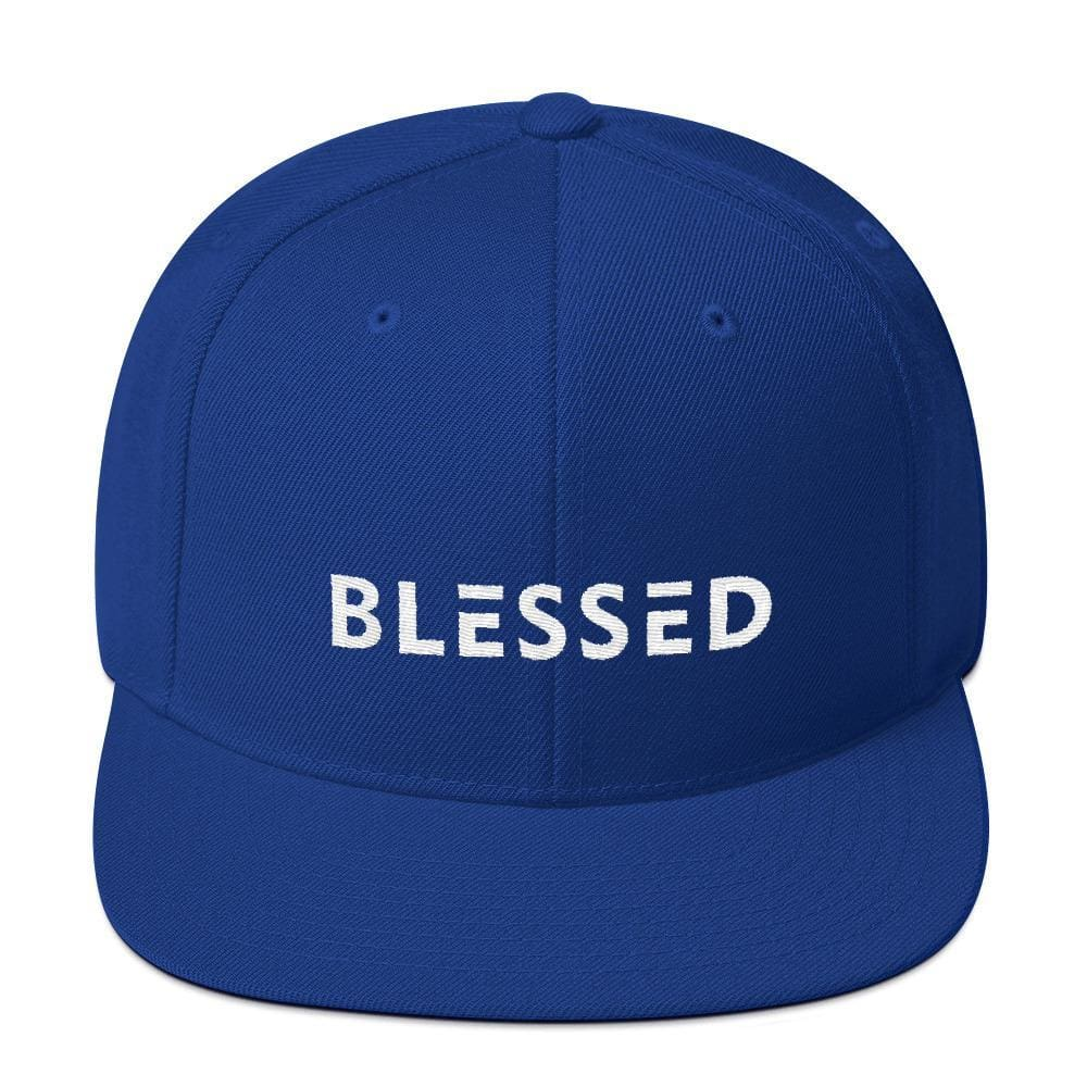 Blessed Flat Brim Snapback Hat - One-size / Royal Blue - Hats