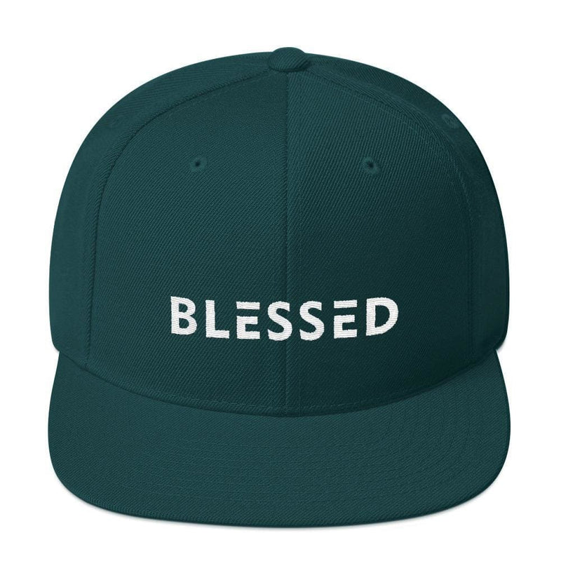 Blessed Flat Brim Snapback Hat - One-size / Spruce - Hats