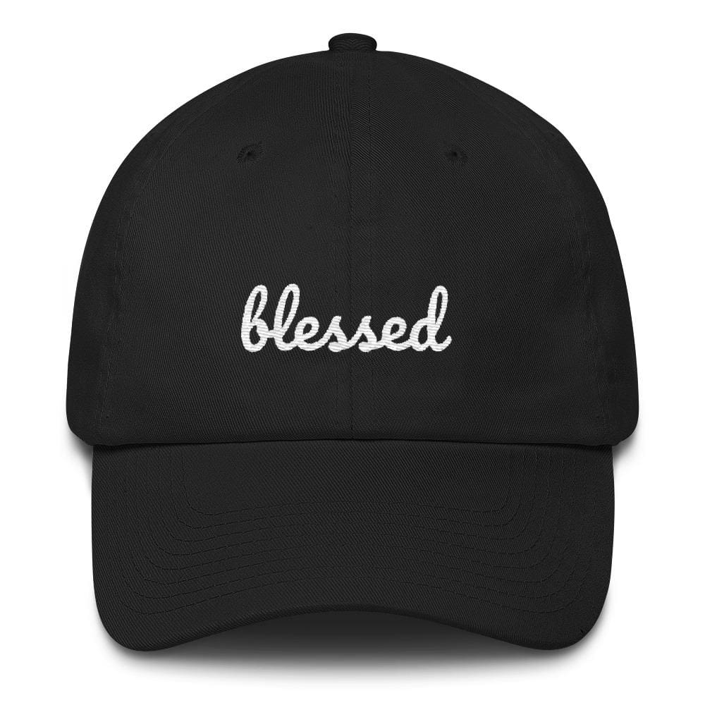 Load image into Gallery viewer, Blessed Scribble Christian Baseball Cap - One-size / Black - Hats