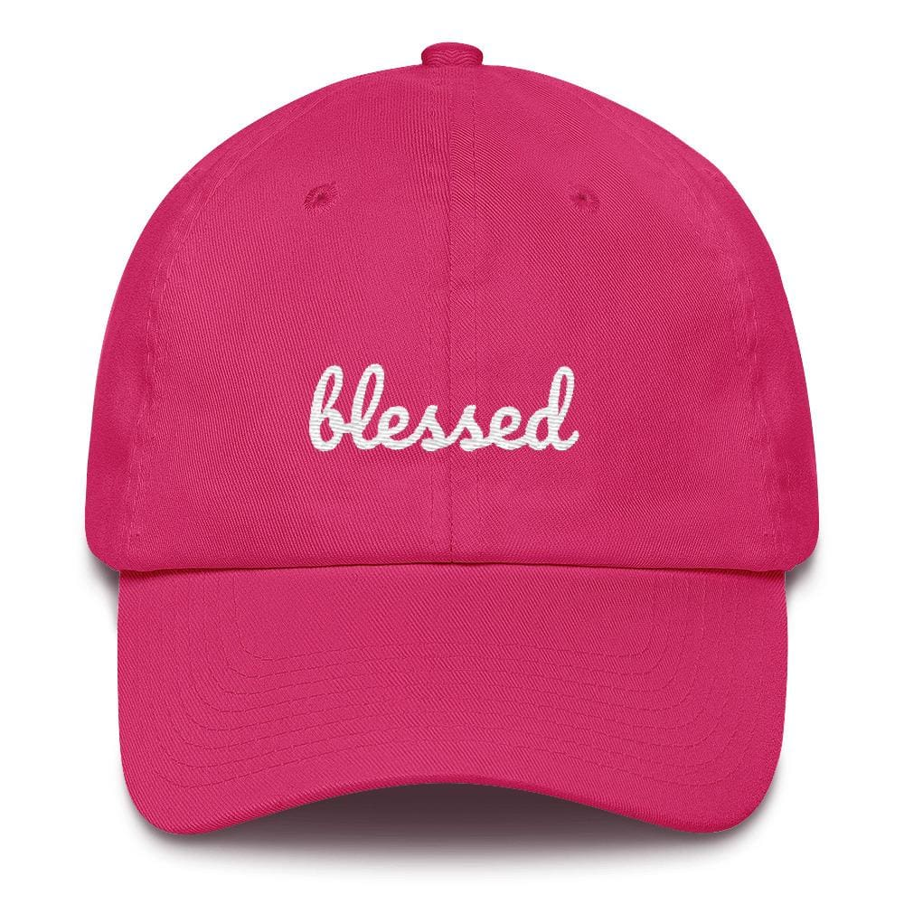 Load image into Gallery viewer, Blessed Scribble Christian Baseball Cap - One-size / Bright Pink - Hats