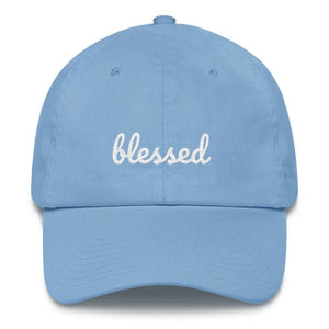 Load image into Gallery viewer, Blessed Scribble Christian Baseball Cap - One-size / Carolina Blue - Hats