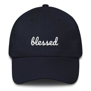 Load image into Gallery viewer, Blessed Scribble Christian Baseball Cap - One-size / Navy - Hats