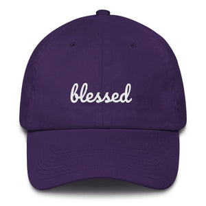 Load image into Gallery viewer, Blessed Scribble Christian Baseball Cap - One-size / Purple - Hats