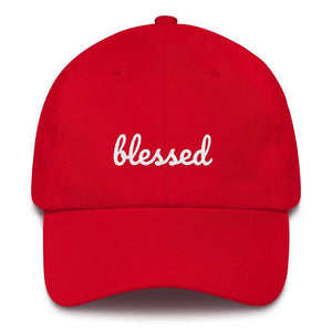 Load image into Gallery viewer, Blessed Scribble Christian Baseball Cap - One-size / Red - Hats