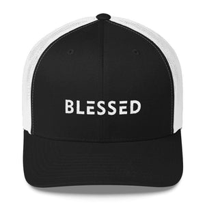 Load image into Gallery viewer, Blessed Snapback Trucker Hat - One-size / Black/ White - Hats