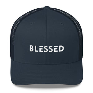Load image into Gallery viewer, Blessed Snapback Trucker Hat - One-size / Navy - Hats