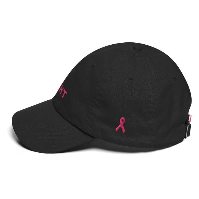 Breast Cancer Awareness Dad Hat with Fight and Pink Ribbon - Hats