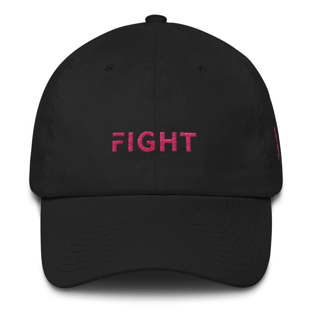 Load image into Gallery viewer, Breast Cancer Awareness Dad Hat with Fight and Pink Ribbon - One-size / Black - Hats